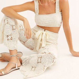 Free People  Dragonfly Crochet Flare Pants Large